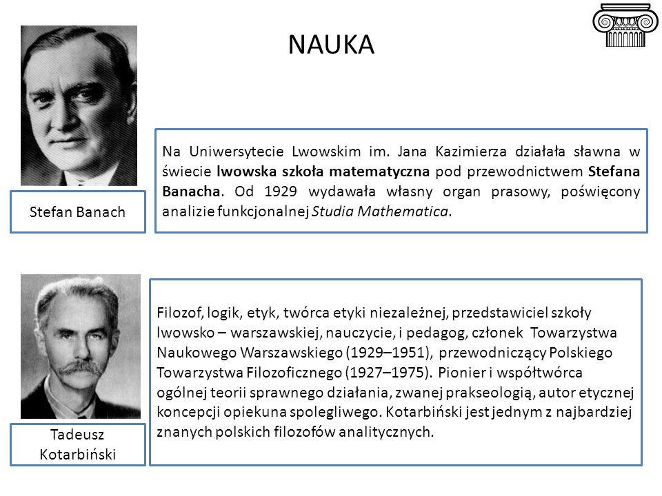 NAUKA Na Uniwersytecie Lwowskim im. Jana Kazimierza działała sławna w świecie lwowska szkoła matematyczna pod przewodnictwem Stefana Banacha. Od 1929