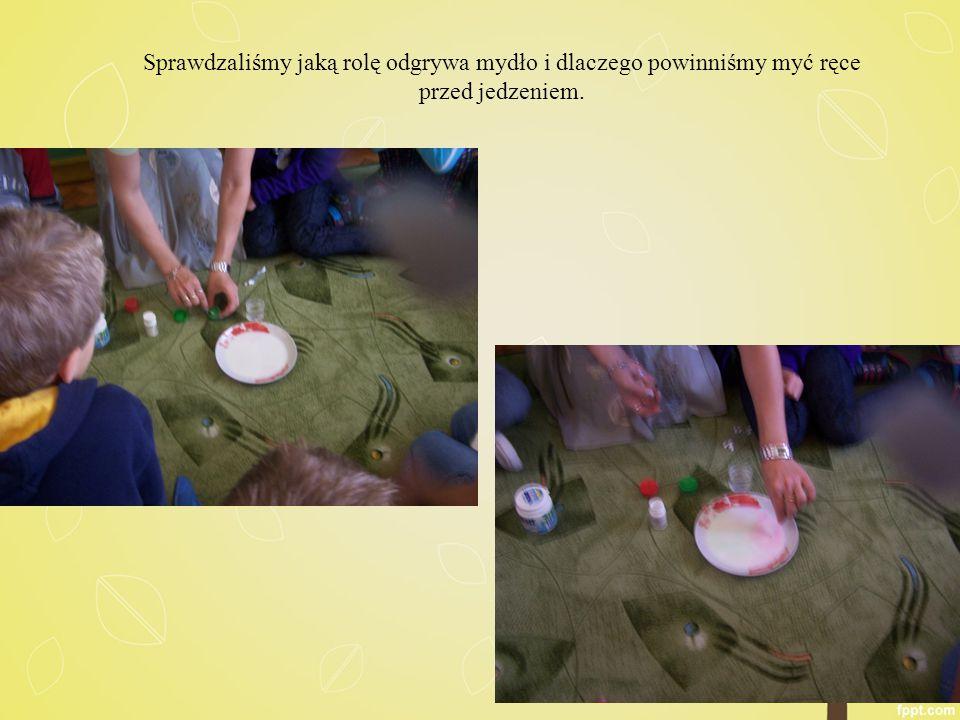 Sprawdzaliśmy jaką rolę odgrywa mydło i dlaczego powinniśmy myć ręce przed jedzeniem.
