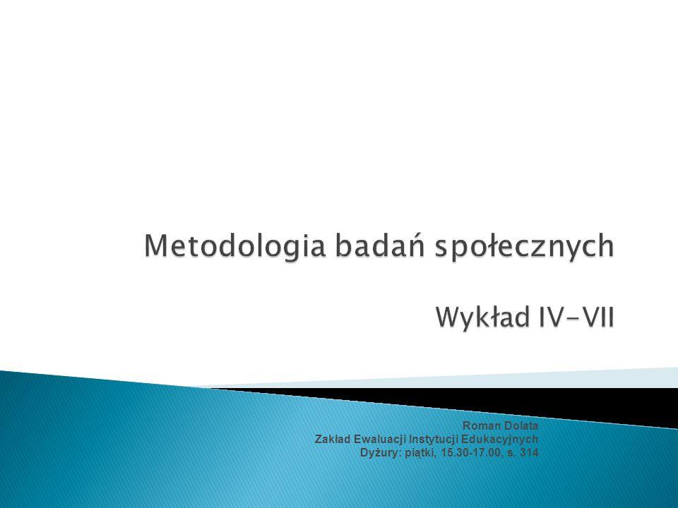 Roman Dolata Zakład Ewaluacji Instytucji Edukacyjnych Dyżury: piątki, 15.30-17.00, s. 314