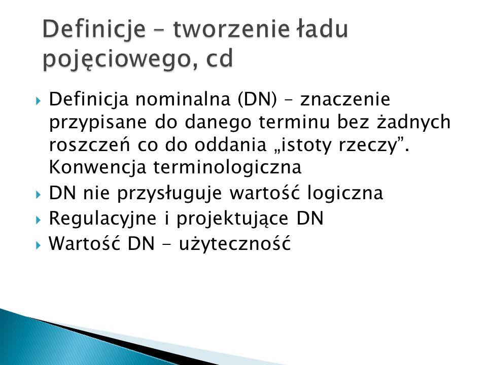 """ Definicja nominalna (DN) – znaczenie przypisane do danego terminu bez żadnych roszczeń co do oddania """"istoty rzeczy"""". Konwencja terminologiczna  DN"""