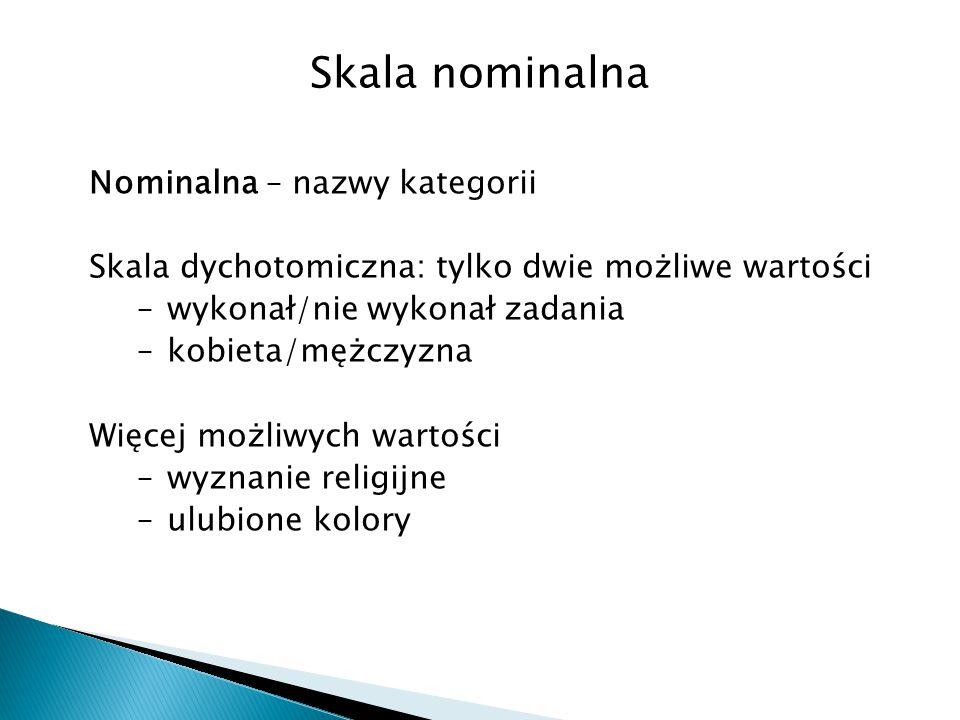 Skala nominalna Nominalna – nazwy kategorii Skala dychotomiczna: tylko dwie możliwe wartości –wykonał/nie wykonał zadania –kobieta/mężczyzna Więcej mo