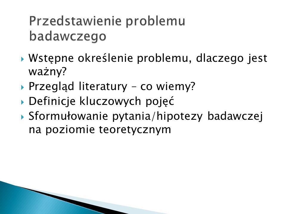  Wstępne określenie problemu, dlaczego jest ważny?  Przegląd literatury – co wiemy?  Definicje kluczowych pojęć  Sformułowanie pytania/hipotezy ba
