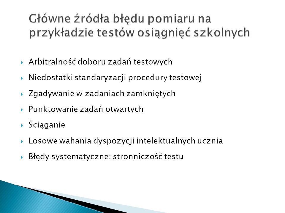 Główne źródła błędu pomiaru na przykładzie testów osiągnięć szkolnych  Arbitralność doboru zadań testowych  Niedostatki standaryzacji procedury test