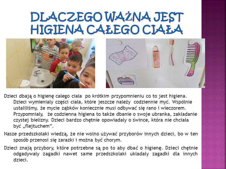 Dzieci dbają o higienę całego ciała po krótkim przypomnieniu co to jest higiena. Dzieci wymieniały części ciała, które jeszcze należy codziennie myć.