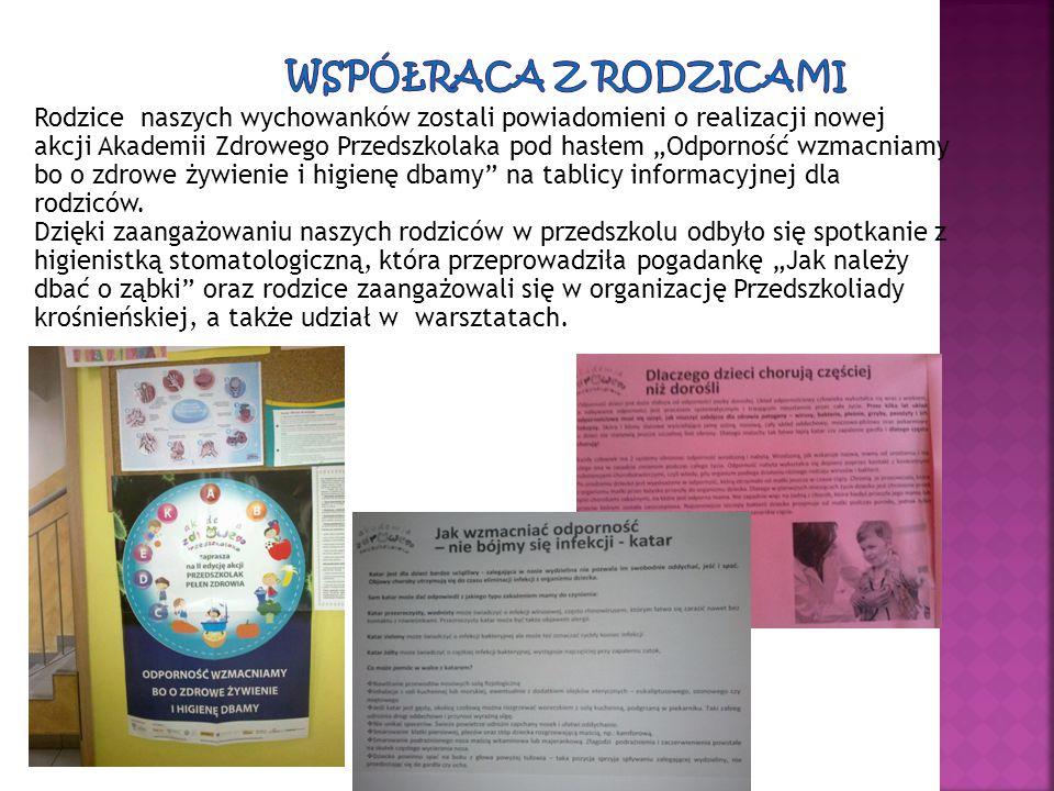 """Rodzice naszych wychowanków zostali powiadomieni o realizacji nowej akcji Akademii Zdrowego Przedszkolaka pod hasłem """"Odporność wzmacniamy bo o zdrowe"""