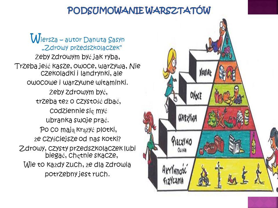 """W iersza – autor Danuta Sasyn """"Zdrowy przedszkolaczek"""" Ż eby zdrowym by ć jak ryba, Trzeba je ść kasze, owoce, warzywa, Nie czekoladki i landrynki, al"""