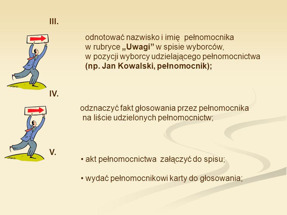 """odnotować nazwisko i imię pełnomocnika w rubryce """"Uwagi"""" w spisie wyborców, w pozycji wyborcy udzielającego pełnomocnictwa (np. Jan Kowalski, pełnomoc"""