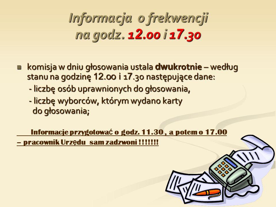 Informacja o frekwencji na godz. 1 2.oo i 1 7.3o komisja w dniu głosowania ustala dwu krotnie – według stanu na godzinę 12.oo i 1 7.3o następujące dan