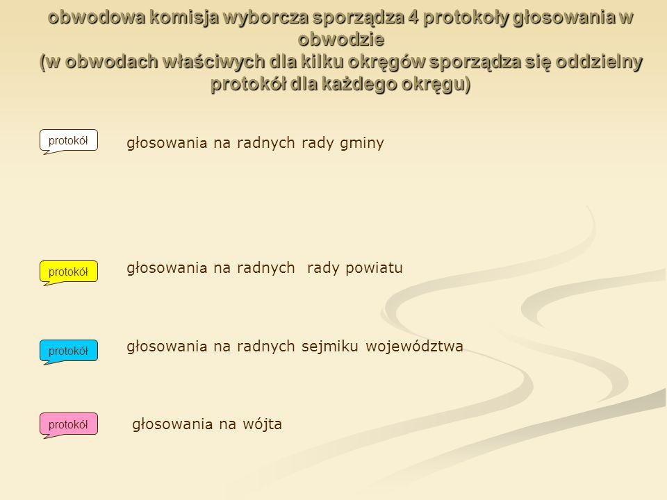 obwodowa komisja wyborcza sporządza 4 protokoły głosowania w obwodzie (w obwodach właściwych dla kilku okręgów sporządza się oddzielny protokół dla ka