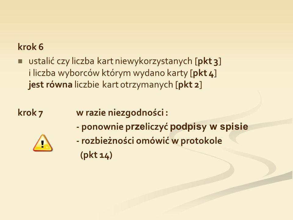 krok 6 ustalić czy liczba kart niewykorzystanych [pkt 3] i liczba wyborców którym wydano karty [pkt 4] jest równa liczbie kart otrzymanych [pkt 2] kro