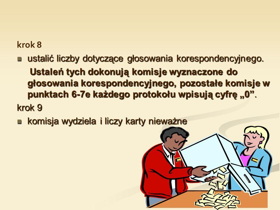 krok 8 ustalić liczby dotyczące głosowania korespondencyjnego. ustalić liczby dotyczące głosowania korespondencyjnego. Ustaleń tych dokonują komisje w