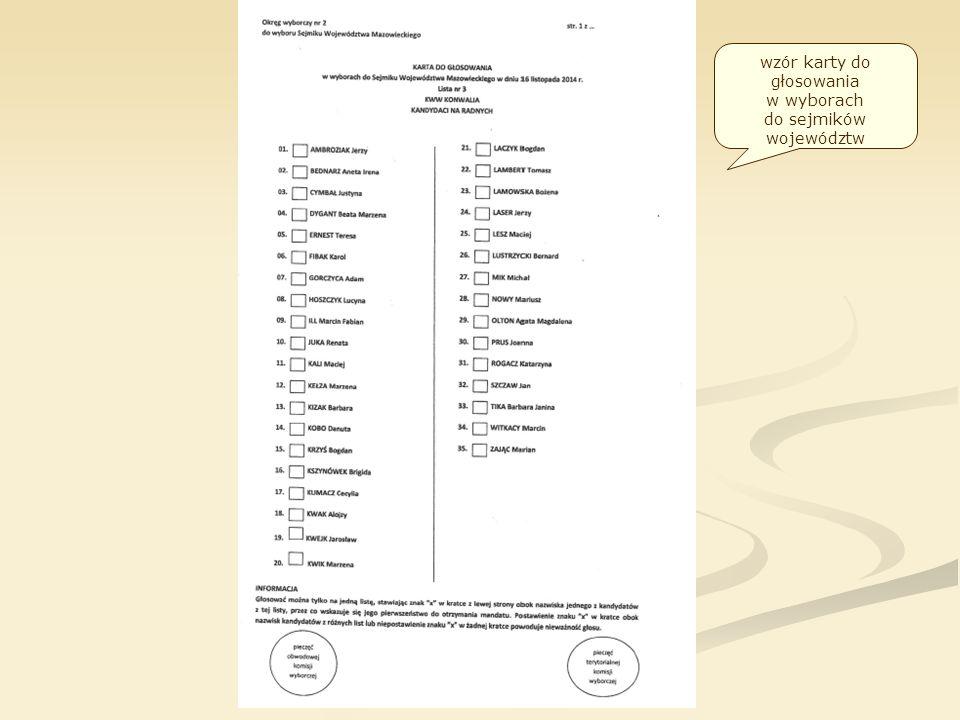 wzór karty do głosowania w wyborach do sejmików województw