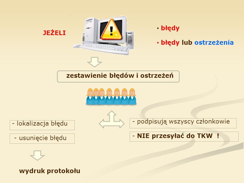 JEŻELI błędy błędy lub ostrzeżenia zestawienie błędów i ostrzeżeń - podpisują wszyscy członkowie - NIE przesyłać do TKW ! - lokalizacja błędu - usunię