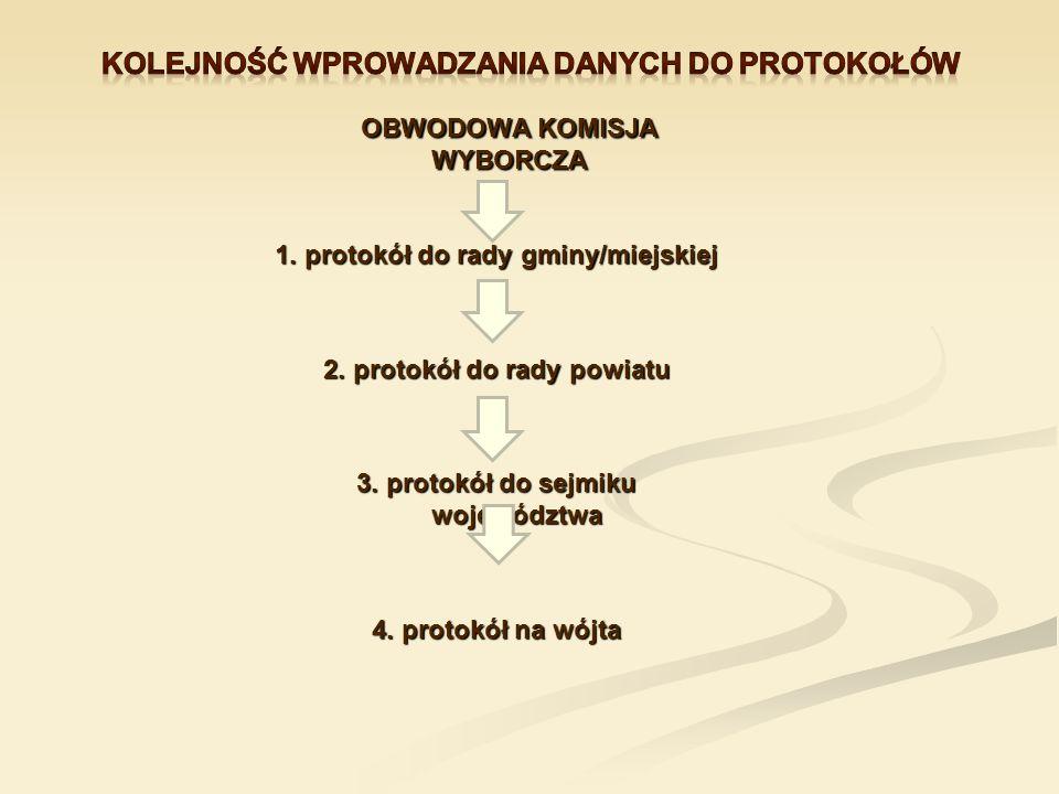 OBWODOWA KOMISJA WYBORCZA 1. protokół do rady gminy/miejskiej 2. protokół do rady powiatu 3. protokół do sejmiku województwa 4. protokół na wójta