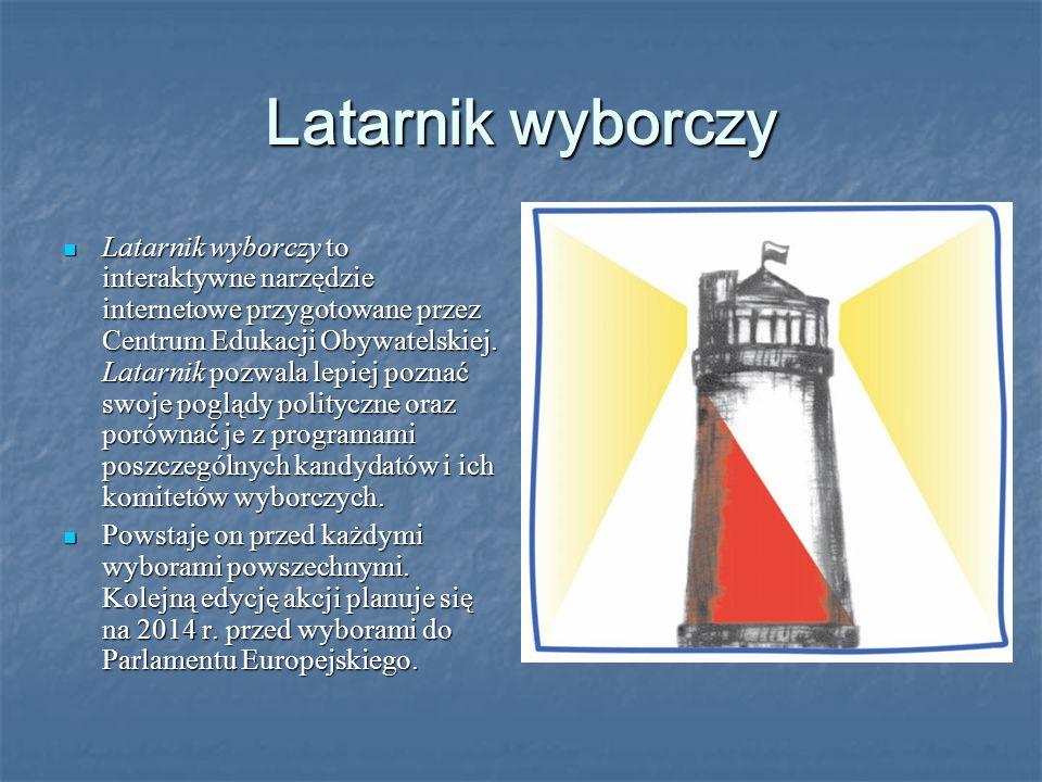 Latarnik wyborczy Latarnik wyborczy to interaktywne narzędzie internetowe przygotowane przez Centrum Edukacji Obywatelskiej.