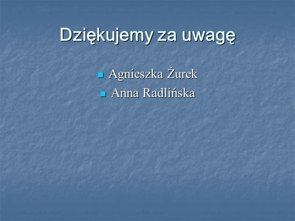 Dziękujemy za uwagę Agnieszka Żurek Agnieszka Żurek Anna Radlińska Anna Radlińska