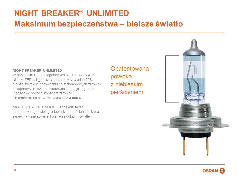 8 NIGHT BREAKER ® UNLIMITED Maksimum bezpieczeństwa – bielsze światło Opatentowana powłoka z niebieskim pierścieniem NIGHT BREAKER UNLIMITED W przypadku lamp halogenowych NIGHT BREAKER UNLIMITED osiągnęliśmy niesamowity wynik +20% bielsze światło w porównaniu do standardowych żarówek halogenowych, dzięki zastosowaniu specjalnego filtra (częściowo pokrytej kobaltem żarówce) ich temperatura barwowa wynosi aż 4 000 K.