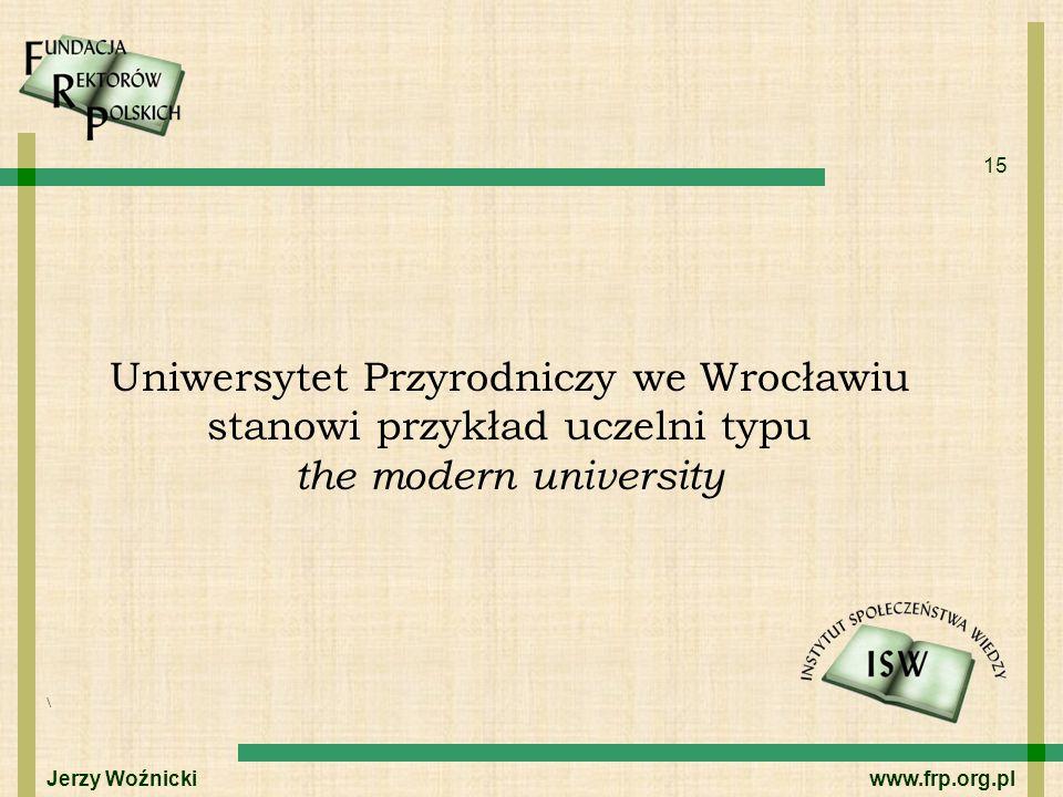 15 Uniwersytet Przyrodniczy we Wrocławiu stanowi przykład uczelni typu the modern university \ Jerzy Woźnicki www.frp.org.pl