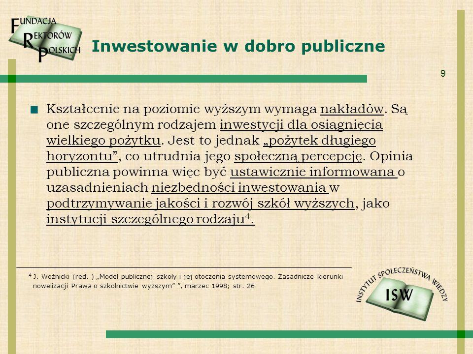 9 Inwestowanie w dobro publiczne Kształcenie na poziomie wyższym wymaga nakładów. Są one szczególnym rodzajem inwestycji dla osiągnięcia wielkiego poż