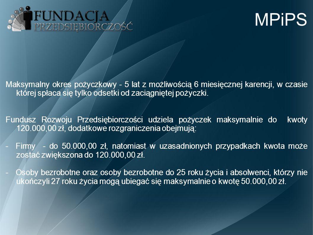 MPiPS Maksymalny okres pożyczkowy - 5 lat z możliwością 6 miesięcznej karencji, w czasie której spłaca się tylko odsetki od zaciągniętej pożyczki. Fun