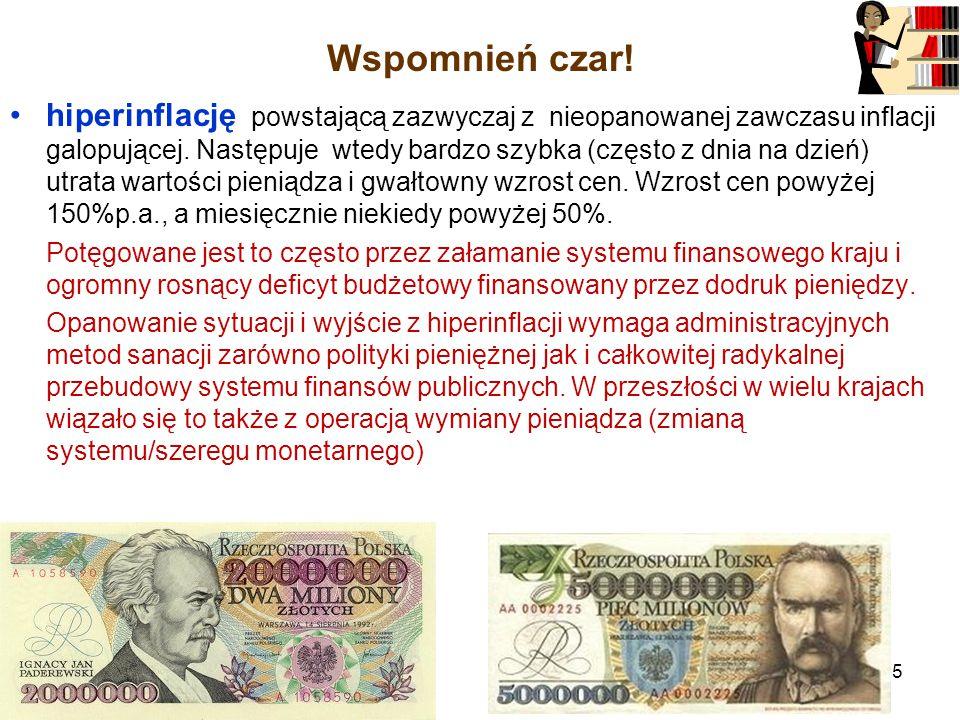 Wspomnień czar.hiperinflację powstającą zazwyczaj z nieopanowanej zawczasu inflacji galopującej.