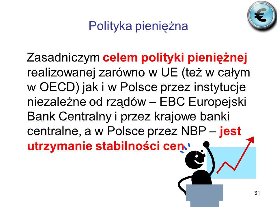 31 Polityka pieniężna Zasadniczym celem polityki pieniężnej realizowanej zarówno w UE (też w całym w OECD) jak i w Polsce przez instytucje niezależne od rządów – EBC Europejski Bank Centralny i przez krajowe banki centralne, a w Polsce przez NBP – jest utrzymanie stabilności cen.