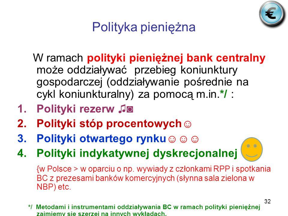 32 Polityka pieniężna W ramach polityki pieniężnej bank centralny może oddziaływać przebieg koniunktury gospodarczej (oddziaływanie pośrednie na cykl koniunkturalny) za pomocą m.in.*/ : 1.Polityki rezerw ♫◙ 2.Polityki stóp procentowych☺ 3.Polityki otwartego rynku☺☺☺ 4.Polityki indykatywnej dyskrecjonalnej {w Polsce > w oparciu o np.