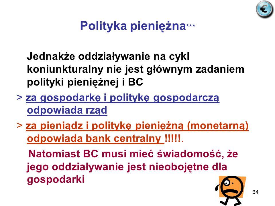 34 Polityka pieniężna *** Jednakże oddziaływanie na cykl koniunkturalny nie jest głównym zadaniem polityki pieniężnej i BC > za gospodarkę i politykę gospodarczą odpowiada rząd > za pieniądz i politykę pieniężną (monetarną) odpowiada bank centralny !!!!!.