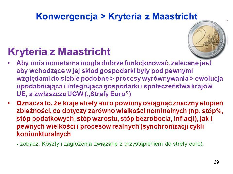 """Konwergencja > Kryteria z Maastricht Kryteria z Maastricht Aby unia monetarna mogła dobrze funkcjonować, zalecane jest aby wchodzące w jej skład gospodarki były pod pewnymi względami do siebie podobne > procesy wyrównywania > ewolucja upodabniająca i integrująca gospodarki i społeczeństwa krajów UE, a zwłaszcza UGW (""""Strefy Euro ) Oznacza to, że kraje strefy euro powinny osiągnąć znaczny stopień zbieżności, co dotyczy zarówno wielkości nominalnych (np."""