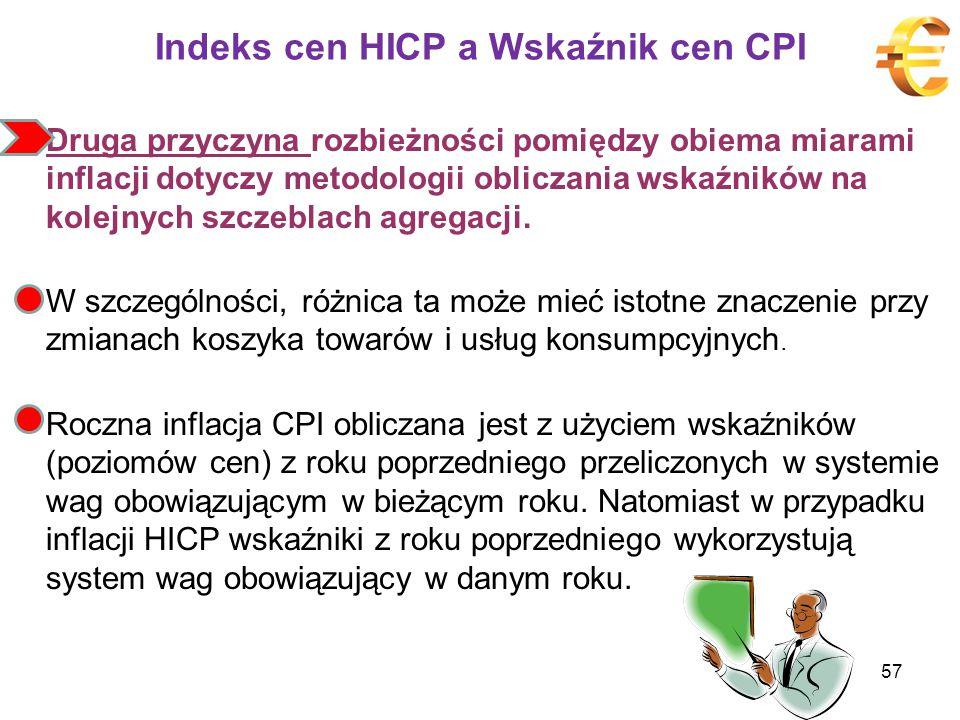 Indeks cen HICP a Wskaźnik cen CPI Druga przyczyna rozbieżności pomiędzy obiema miarami inflacji dotyczy metodologii obliczania wskaźników na kolejnych szczeblach agregacji.