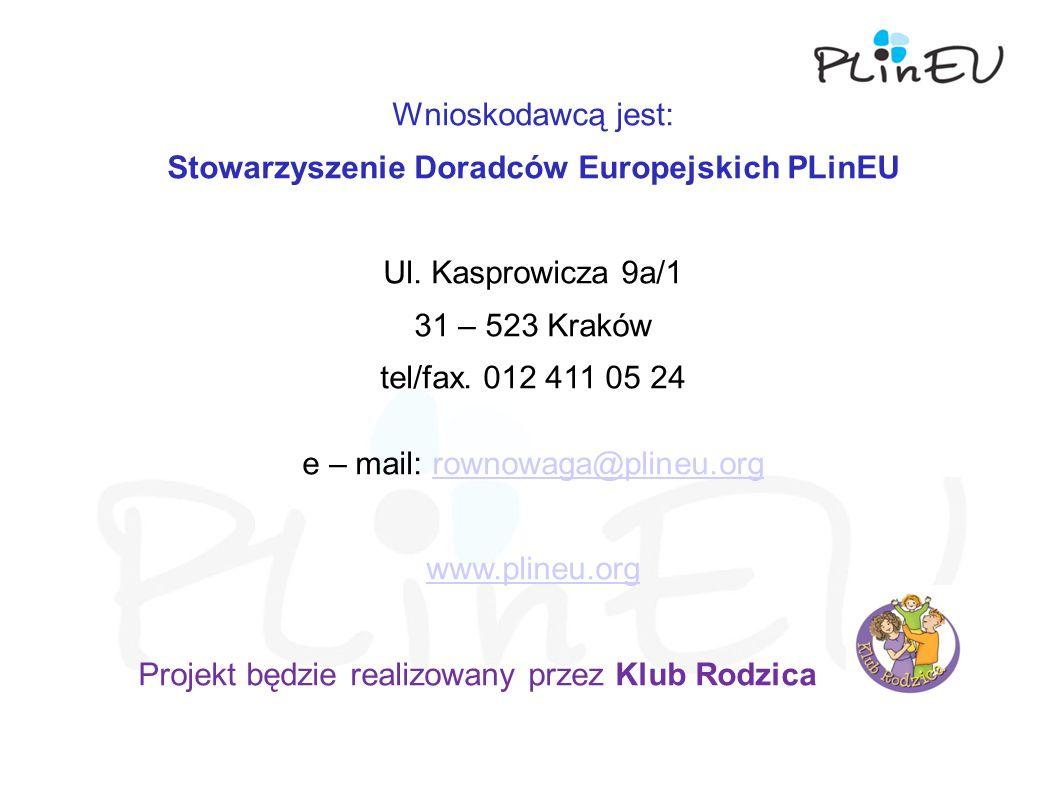 Wnioskodawcą jest: Stowarzyszenie Doradców Europejskich PLinEU Ul.