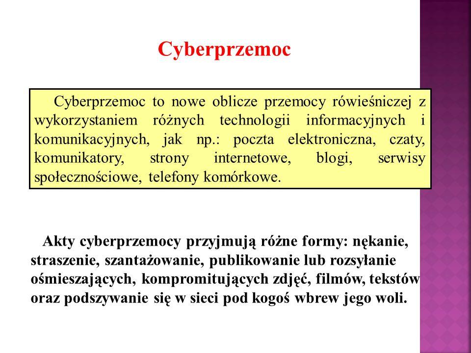 Cyberprzemoc Akty cyberprzemocy przyjmują różne formy: nękanie, straszenie, szantażowanie, publikowanie lub rozsyłanie ośmieszających, kompromitujących zdjęć, filmów, tekstów oraz podszywanie się w sieci pod kogoś wbrew jego woli.