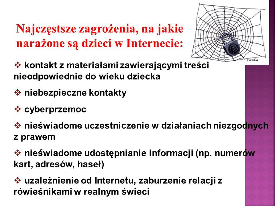 Niebezpieczne kontakty Zdecydowana większość młodych internautów korzysta z komunikatorów, czatów i portali społecznościowych.