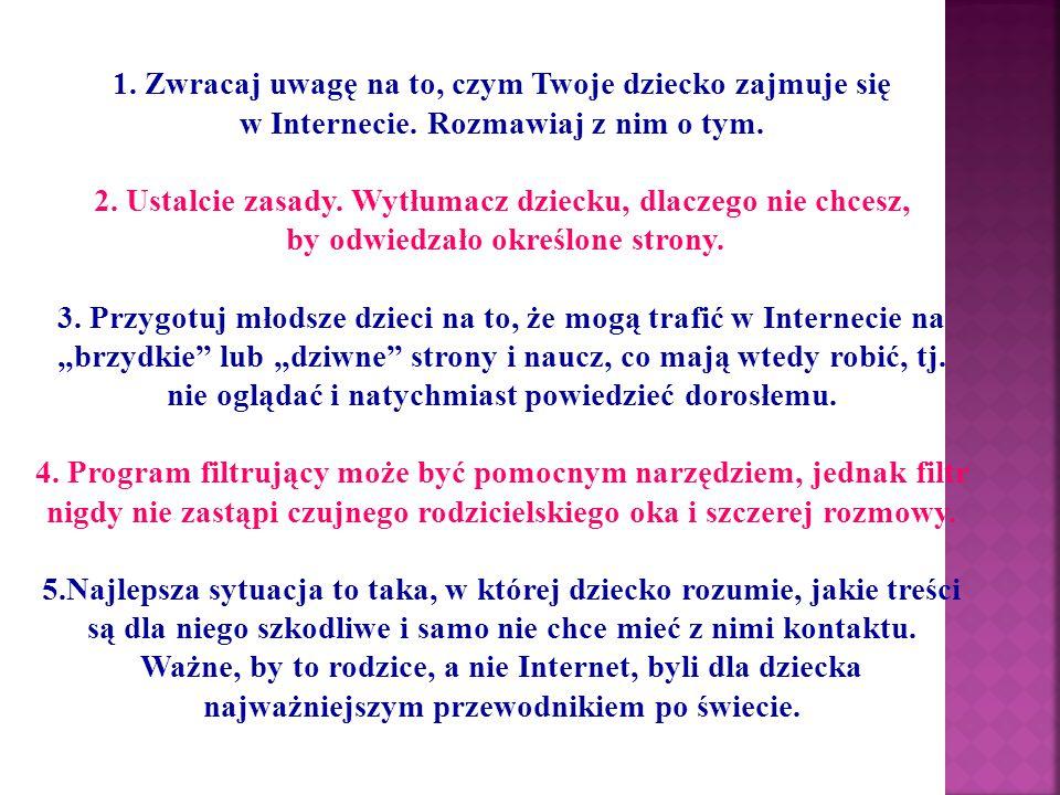 Przydatne strony  www.dzieckowsieci.pl  www.sieciaki.pl  www.brpd.gov.pl  www.kidprotect.pl  www.helpline.pl  www.dyzurnet.pl  www.pegi.info  www.saferinternet.pl