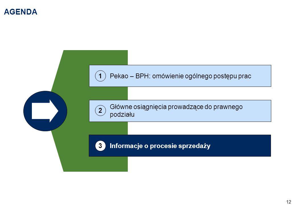 12 AGENDA Główne osiągnięcia prowadzące do prawnego podziału 2 Informacje o procesie sprzedaży 3 Pekao – BPH: omówienie ogólnego postępu prac 1