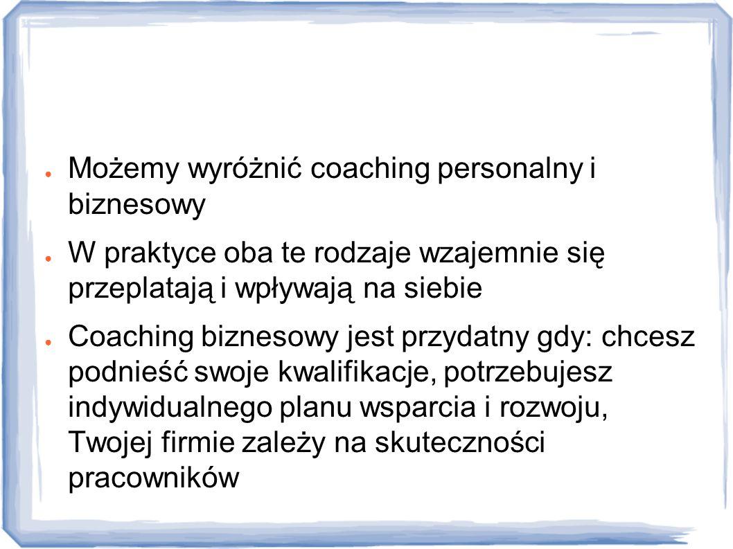 Rodzaje ● Możemy wyróżnić coaching personalny i biznesowy ● W praktyce oba te rodzaje wzajemnie się przeplatają i wpływają na siebie ● Coaching biznes