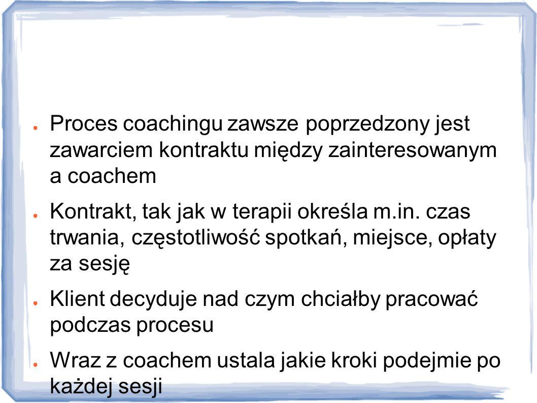 Jak przebiega proces coachingu? ● Proces coachingu zawsze poprzedzony jest zawarciem kontraktu między zainteresowanym a coachem ● Kontrakt, tak jak w