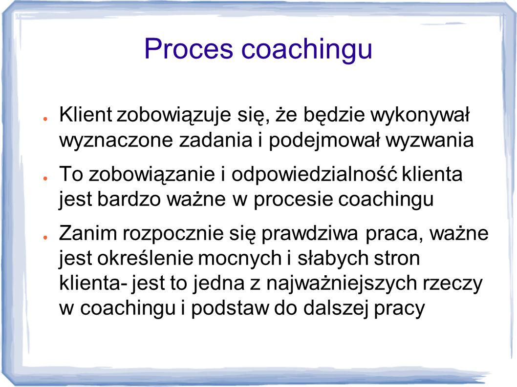 Proces coachingu ● Klient zobowiązuje się, że będzie wykonywał wyznaczone zadania i podejmował wyzwania ● To zobowiązanie i odpowiedzialność klienta j