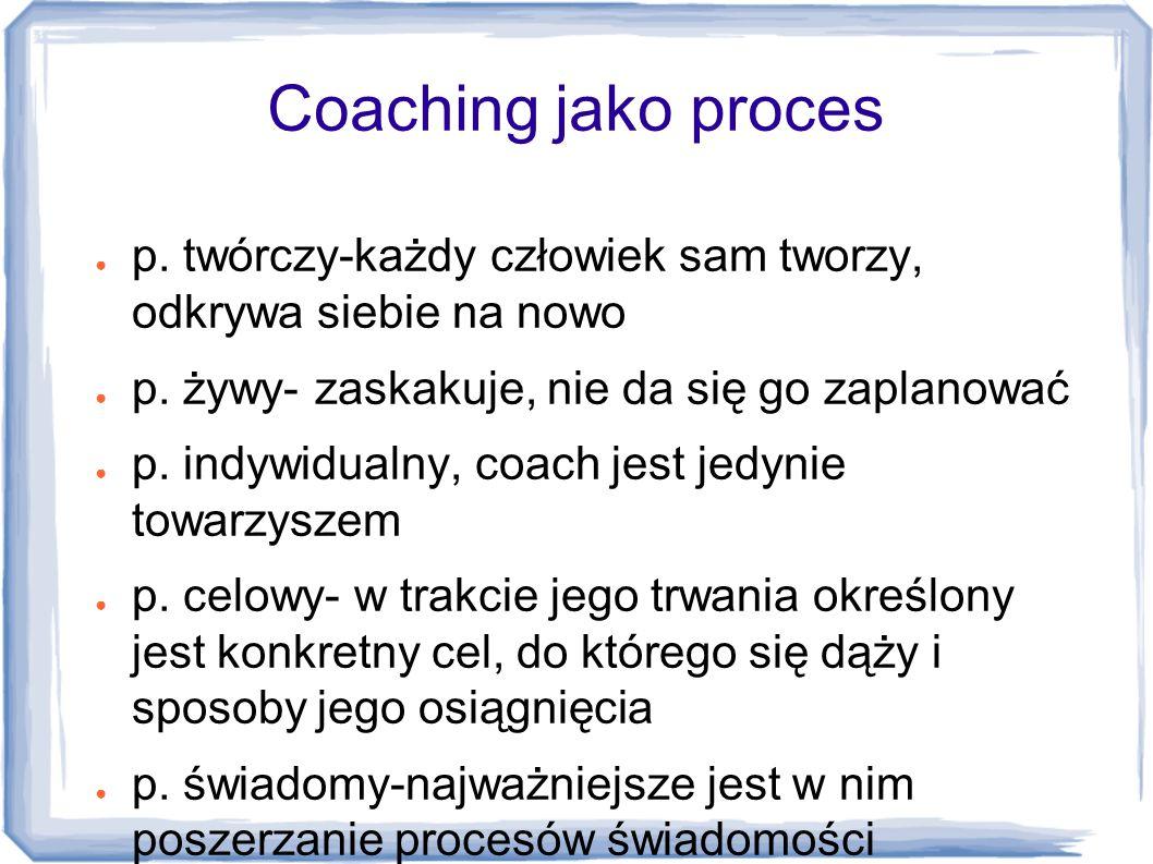 Coaching jako proces ● p. twórczy-każdy człowiek sam tworzy, odkrywa siebie na nowo ● p. żywy- zaskakuje, nie da się go zaplanować ● p. indywidualny,