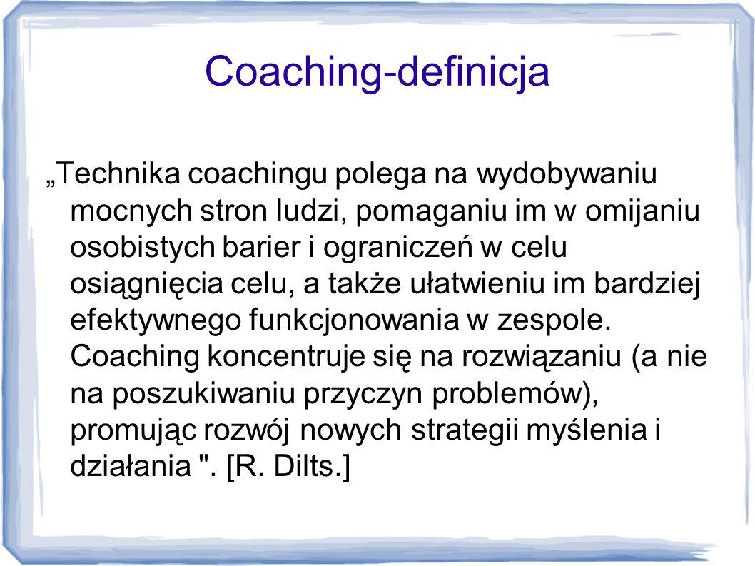 """Coaching-definicja """"Technika coachingu polega na wydobywaniu mocnych stron ludzi, pomaganiu im w omijaniu osobistych barier i ograniczeń w celu osiągn"""