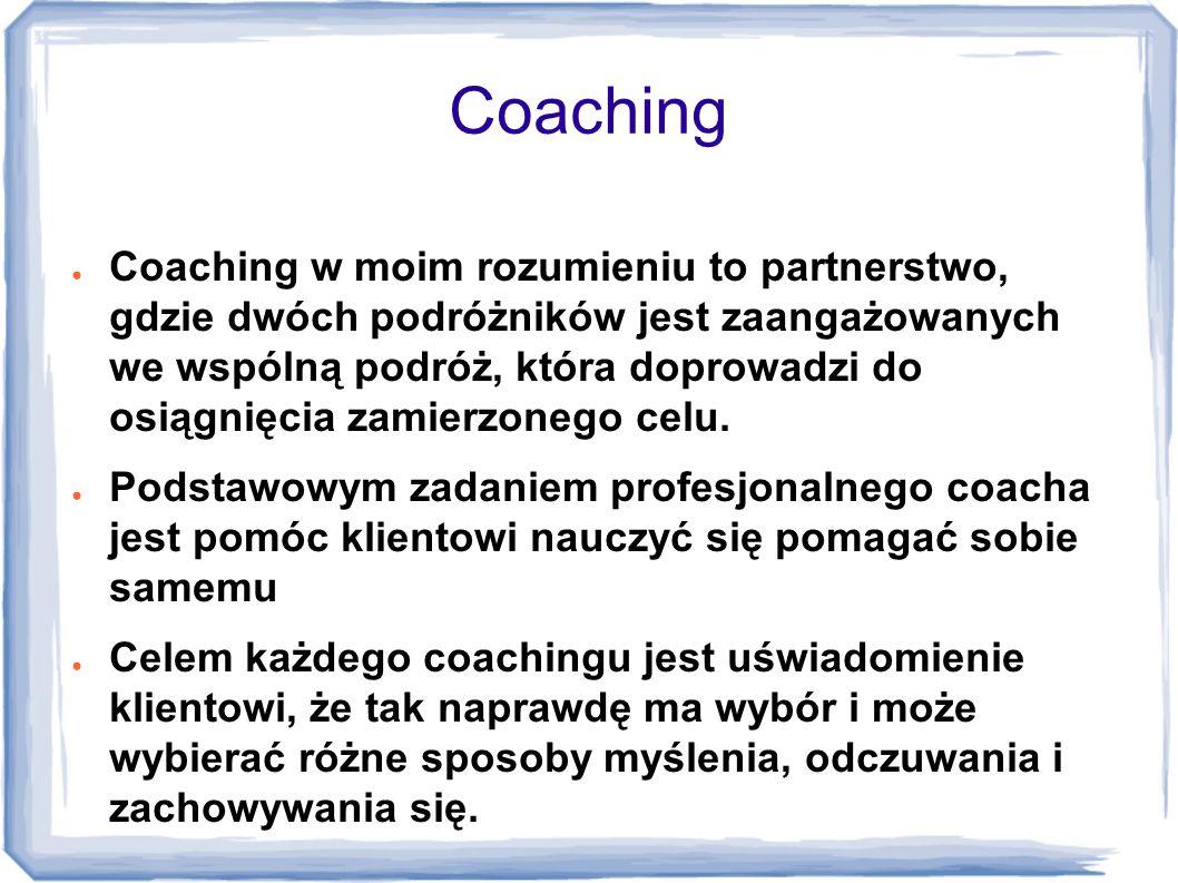 Elementy coachingu przekazywanie informacji zwrotnej aktywne słuchanie zadawanie pytań stawianie wyzwań sugerowanie kolejnych kroków w rozwoju i nauce tworzenie sytuacji, w których klient się uczy oferowanie wsparcia na każdym etapie rozwoju