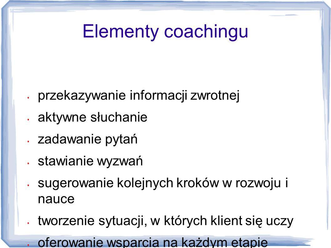 Elementy coachingu przekazywanie informacji zwrotnej aktywne słuchanie zadawanie pytań stawianie wyzwań sugerowanie kolejnych kroków w rozwoju i nauce