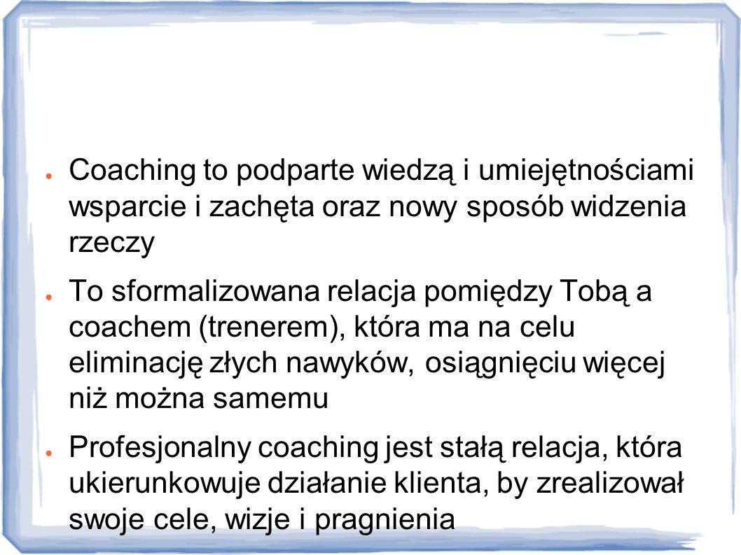 Definicje ● Coaching to podparte wiedzą i umiejętnościami wsparcie i zachęta oraz nowy sposób widzenia rzeczy ● To sformalizowana relacja pomiędzy Tob