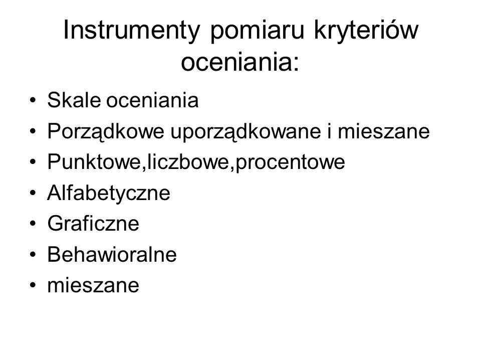 Instrumenty pomiaru kryteriów oceniania: Skale oceniania Porządkowe uporządkowane i mieszane Punktowe,liczbowe,procentowe Alfabetyczne Graficzne Behaw