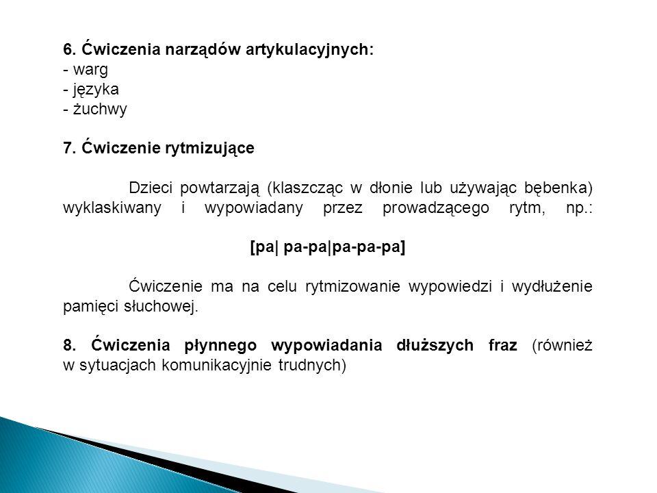 6. Ćwiczenia narządów artykulacyjnych: - warg - języka - żuchwy 7. Ćwiczenie rytmizujące Dzieci powtarzają (klaszcząc w dłonie lub używając bębenka) w