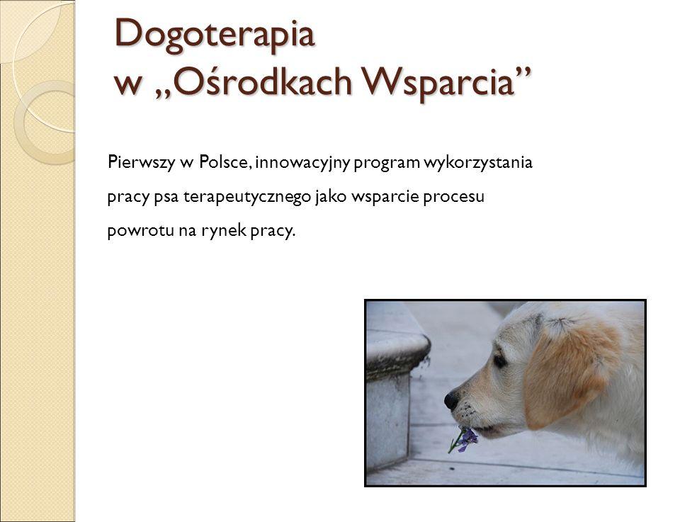 """Dogoterapia w """"Ośrodkach Wsparcia"""" Pierwszy w Polsce, innowacyjny program wykorzystania pracy psa terapeutycznego jako wsparcie procesu powrotu na ryn"""