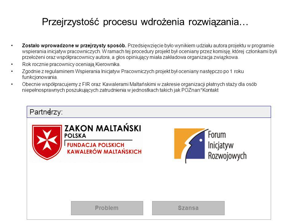 Przejrzystość procesu wdrożenia rozwiązania… Zostało wprowadzone w przejrzysty sposób. Przedsięwzięcie było wynikiem udziału autora projektu w program