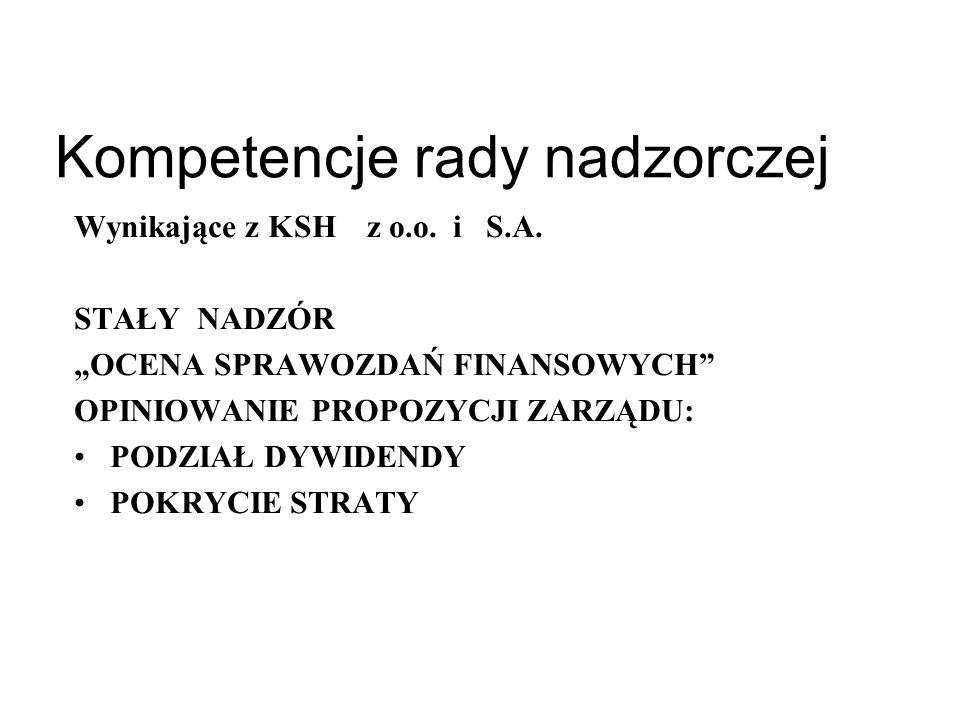 Rada nadzorcza Zaskarżanie uchwał walnego zgromadzenia Zgromadzenia wspólników Tryb Rada / poszczególni członkowie