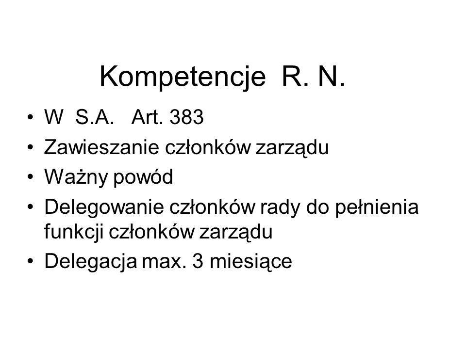 Kompetencje R. N. W S.A. Art. 383 Zawieszanie członków zarządu Ważny powód Delegowanie członków rady do pełnienia funkcji członków zarządu Delegacja m