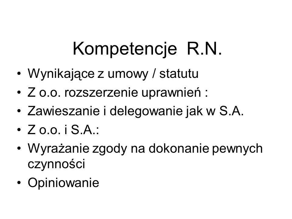 Kompetencje R.N. Wynikające z umowy / statutu Z o.o. rozszerzenie uprawnień : Zawieszanie i delegowanie jak w S.A. Z o.o. i S.A.: Wyrażanie zgody na d